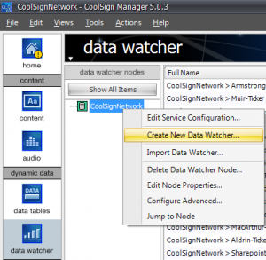Coolsign New Data Watcher Screen