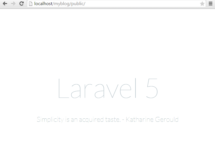 the page a succesfull laravel 5 installation will show