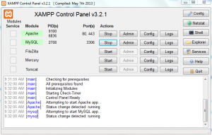 xampp control panel with apache and mysql services started